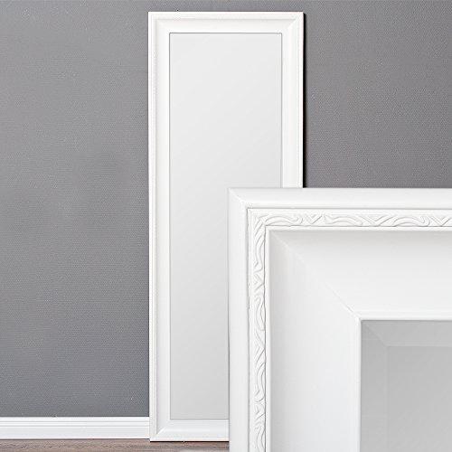 LEBENSwohnART Wandspiegel COPIA 140x50cm Pur-Weiß Spiegel Barock Holzrahmen Facette