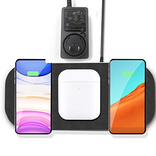 (Upgrade) Fast Wireless Charger Station,Qi Multiple Devices Triple...