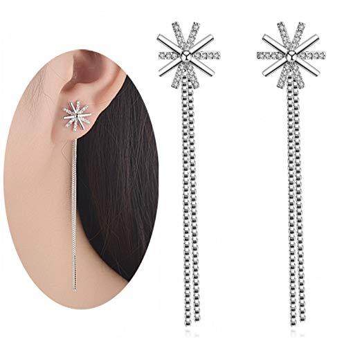 MSECVOI CZ Linear Earrings 925 Sterling Silver Winter Snowflake Ear Threader Chain Dangle Earrings for Women Teens