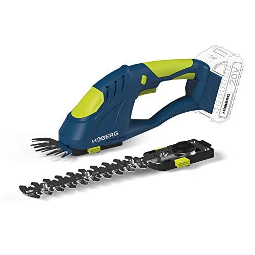 Hoberg - Cesoie per erba e arbusti a batteria con 2 inserti per coltelli, sistema 20 V (senza...