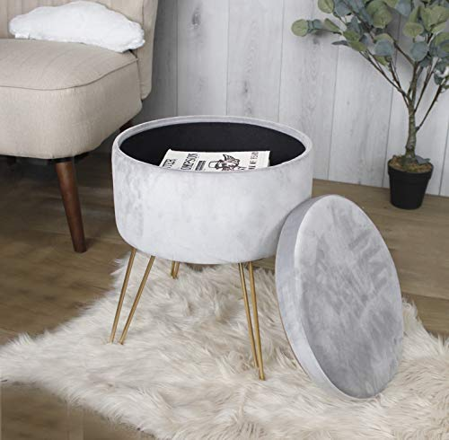 HomeZone Grey Round Velvet Stool with Internal Concealed Storage Modern Footstool Ottoman Suitable For Living Room Bedroom Home Decor Dressing Table Decorative Seating Pouffe Art Deco Vintage Style