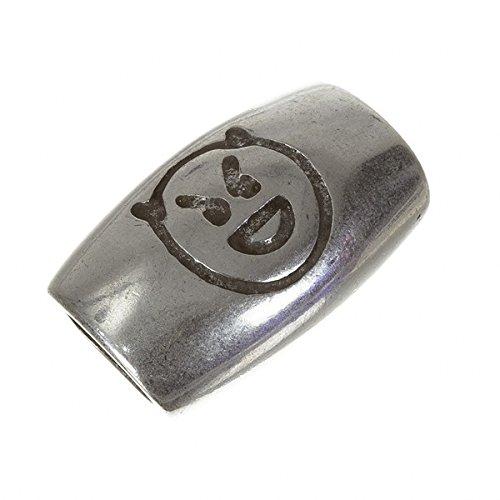 Abalorio de tubo largo de plata envejecida, compatible con Regaliz 28 mm PK1