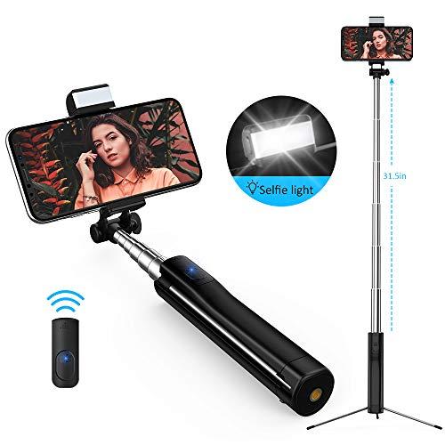 Bluetooth Selfie Stick mit Selfie Licht, Stativ und Fernbedienung-Luxsure 360° Rotation Selfie-Stangen für iPhone XS Max X XR 8 7 Plus Samsung Galaxy S10+ S10 S9 S8 S7 alle Android Smartphones 80cm