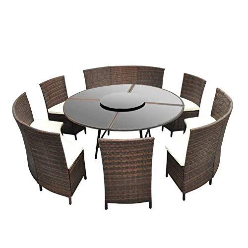 Kit de sofá para exteriores, juego de jardín de ratán con 1 mesa, 3 bancos, 3 sillas y 6 cojines del asiento.