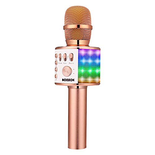 BONAOK Bluetooth Karaoke Wireless Microphone with LED Lights, 4 in 1 Portable Rechargeable Sing Mic Speaker for Android/iPhone/iPad/PC Christmas Kids Adults(Q37L ROSE GOLD)