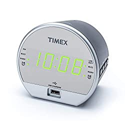 Timex T2352 Dual Digital Alarm Clock, FM Radio, Built in Speaker, USB Charger, Green LED Display with Dimmer, Battery Backup for Bedrooms, Bedside, Desk, Shelf, Snooze Adjustable Sleep Timer