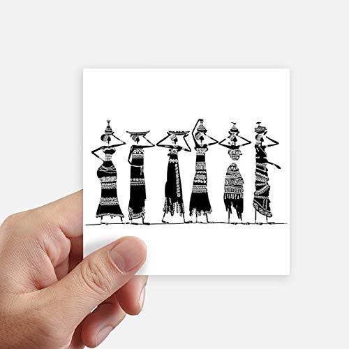 DIYthinker Afrique Primitive Robes autochtones Noir Totems Autocollant carré 10CM Mur Valise pour Ordinateur Portable Motobike Decal 8Pcs 10cm x 10cm Multicolor