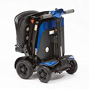 Drive 4 Wheel Manual Folding Travel Mobility Scooter with On Board Charging (Blue)