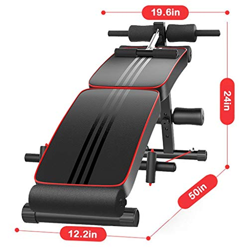 Tengma Adjustable Weight Bench,Foldable Decline Sit up Bench Crunch Board Fitness Home Gym Exercise Equipment Full Body Workout Abdomen Leg Core Strength Training (Load-bearing:220lb)