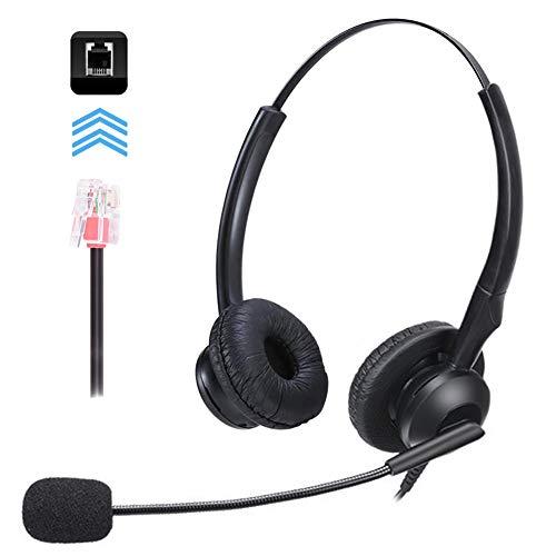MKTBA Auriculares de teléfono, con Cable, Auriculares de teléfono con micrófono para teléfonos fijos, Manos Libres, cancelación de Ruido, con Cable, Ajuste cómodo, para Centro de Llamadas