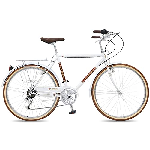 QIU Single Speed 700C 24 / 26Inch Commuter City Road Bike  21 Pulgadas Marco Urbano Engranaje Fijo Bicicleta Retro Vintage Adulto Damas Hombres Unisex (Color : White, Size : 26')