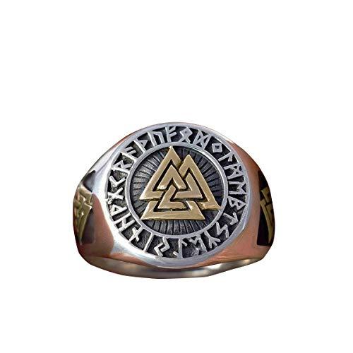 NA Herren Gold und Silber Farbe Vegvisir Viking Edelstahl Biker Ringe Futhark Runes Wikinger Dreieck Odin Nordic Schmuck Trinity Ring