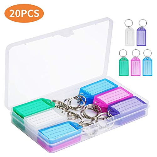 Cuttte 20 Pack Plastic Key Tags with Container, Key Labels with Ring and Label Window, 5 Colors