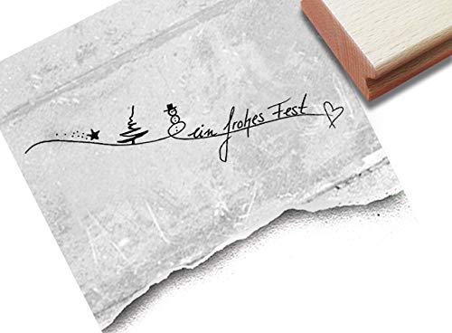 Stempel Weihnachtsstempel EIN FROHES FEST Handschrift - Schriftstempel Weihnachten Karten Geschenkanhänger Geschenk Weihnachtsdeko - zAcheR-fineT