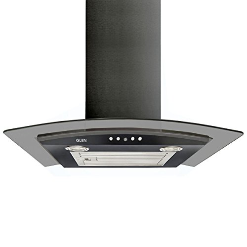 Glen 60cm 1000 m3/hr Curved Glass Wall Mounted Kitchen Chimney Push Buttons Baffle Filter (6071 EX Black)