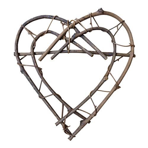 VOSAREA 26cm Colgando Corona de corazón Mimbre de ratán Corazón Decoración del hogar Muebles Accesorios de Tiro