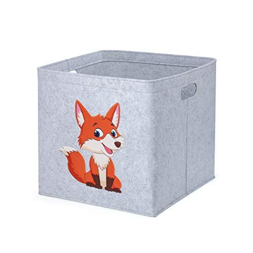 Aufbewahrungsbox Kinder Spielzeugkiste Filzkorb für Kinderzimmer, 33 x 33 x 33 cm, Ordnungsbox mit Tiermuster, Kallax Boxen für Spielzeugaufbewahrung (Fuchs)