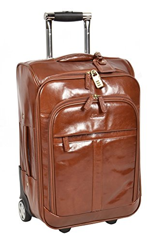 Real Leather Cabin Hand Luggage Travel Suitcase Wheels Telescopic Handles Bag Tokyo Chestnut Tan