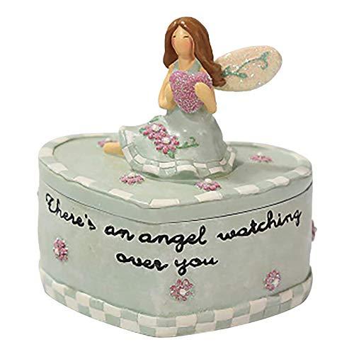 XBSJB Día de la Madre Joyería de Estilo Europeo Caja de la joyería Angel Holding Heart Jewelry Box Ideas Día de San Valentín Día de Las Madres Regalo,Verde