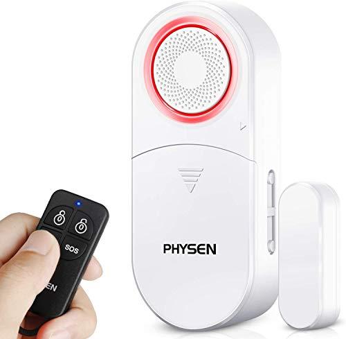 PHYSEN Türalarm Fensteralarm 120 dB Einbruchschutz mit 1 Fernbedienungen, Drahtloser Türsensor Home Security Alarmanlage Magnetsensor mit 4 Arbeitsmodus für Zuhause, Büro, Garagen
