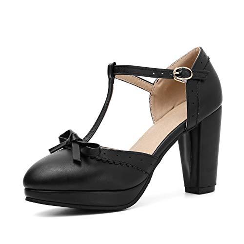 MIOKE Women's Retro T-Strap Mary Jane Pumps Round Toe Platform Chunky Block High Heel Vintage Oxford Shoes Black