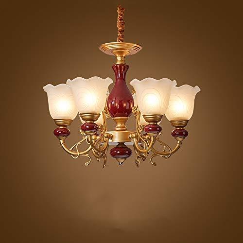 Zenghh Cerámica vela candelabro chino estilo americano vintage lámpara metal cobre doblado brazo linterna glaseado porcelana techo colgante luz para sala de estar taberna cafetería escaleras escaleras
