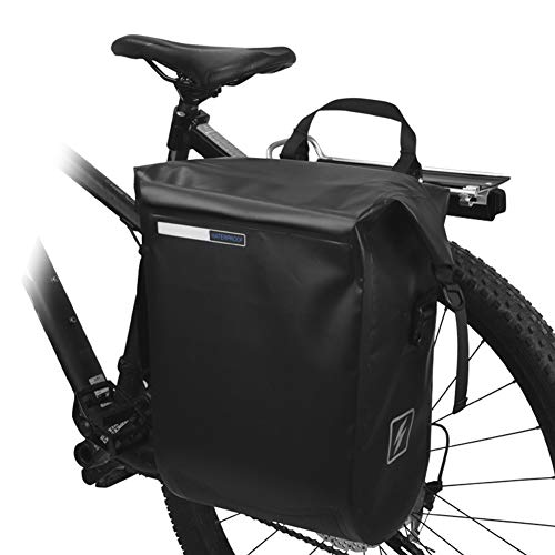20L Bike Pannier Bag Full Waterproof, Removable Cycling Panniers, Bicycle Rear Rack Trunks Single Backpack with Clip - for Riding Ladies & Men,Black