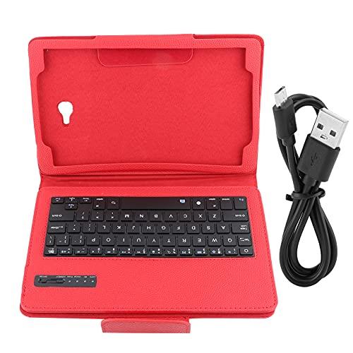 キーボード、タブレットキーボードケース、ホームオフィス用のポータブル高速接続充電式(赤, 黒)
