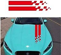 バンドグラフィックステッカースタイリッシュなスポーツカーのスタイルに沿って2個接着フィルムカバー車のボンネットのステッカービニル車,赤