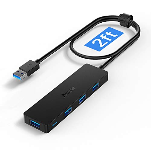 Aceele USB Hub,USB 3.0 Hub 4 Port mit verlängertem 65cm Kabel, Ultra dünn USB-verteiler auf 4 USB 3.0 verlängerung, kompatibel mit Desktop-Computer, MacBook Pro/Air, iMac,Surface Pro,PS 4 und Laptops