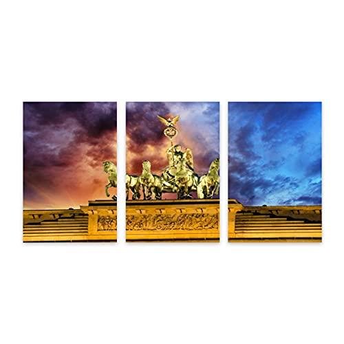 CVSANALA 3 Piezas Sin Marco Fotografía Mural,Cuadriga en la Puerta de Brandenburgo con La majestad del Cielo dramático,Póster Huellas Dactilares Decor Mural Lienzo Pintura al óleo,7.9' x 11.8'