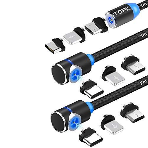 TOPK Magnetisches USB Kabel [3Stück] 3in1 Ladekabel mit LED Blitz Micro USB Typ C Magnet Adapter Nylon Braided Kabel Kompatibel mit Android Smartphone und i-Produkt