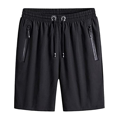 KIMODO Herren Shorts Badeshorts Schnelltrocknend Plus Size Sommer Lässige Sporthose Strandshorts Beachshorts Trainingshose Tennishose Freizeithose mit Kordelzug (A-Schwarz, 4XL)