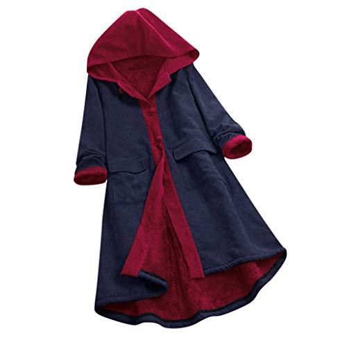 FRAUIT dames fleece capuchonjack knoopsluiting capuchon retro mantel met tas winterjas