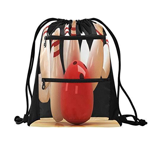 HMZXZ RXYY Sport Bowling Ball Kordelzug Gym Bag mit Postleitzahl Tasche Sackpack Drawstring Cinch Rucksack Sport Daypack Reise Yoga für Männer Frauen Jung Mädchen