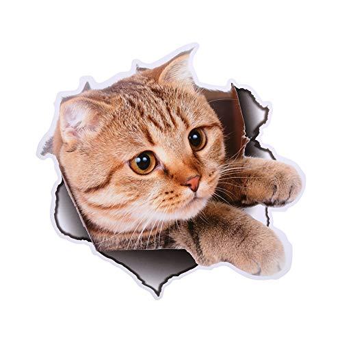 3D Decorativos para Pared Pegatinas Decorativas, 3D Moderno Gatos Perros Animal Asiento de Inodoro Pegatinas Impermeable Extraíble...