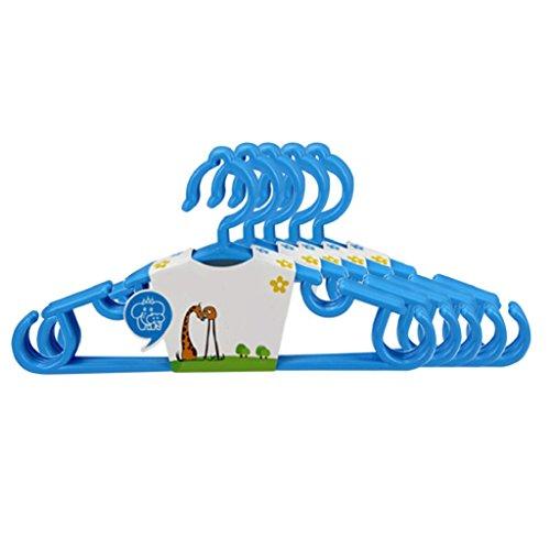 Sukisuki - Perchas de plástico para ropa de niños, para abrigos de pantalones de bebé, antideslizante, 5 unidades, plástico, azul, talla única