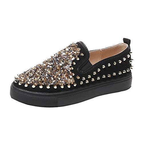 RNUYKE Women's Studded Sequins Casual Shoes Flats Loafers Slippers Lazy Shoes Roman Rivet Shoes Black