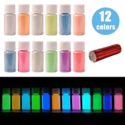 DEWEL 12er × 20g Fluoreszierendes Pulver, Leuchtpulver Set mit UV Lampe, Epoxidharz Leuchtpulver...