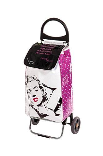 Aurora Einkaufstrolley Linie Fashion, leicht aus Aluminium, ergonomischer Griff, waschbare Tasche und Reißverschlusstasche, Tragkraft 30 kg, Fassungsvermögen 50 l