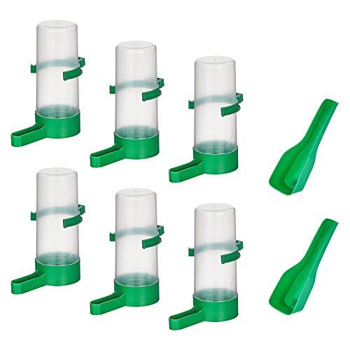 AHANDMAKER Botella de Agua Automática para Pájaros, 6 alimentador Automático de Pájaros de 140 ml Y 2 cucharadas de Plástico para Alimentos para Mascotas, Botella de Agua para Pájaros Dispensa