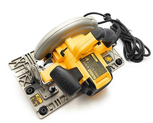 DeWalt DWE576KR-QS Handkreissägen-Set mit Führungsschiene/Tischkreissäge, verstellbarer Werkstückanschlag, Zusatzhandgriff, inklusive Paralellanschluss und Sägeblatt, 1600 W, 230 V - 2