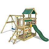WICKEY Spielturm Klettergerüst TurboFlyer mit Schaukel & grüner Rutsche, Spielhaus mit Sandkasten,...