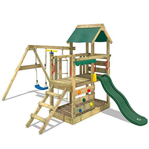 WICKEY Parque infantil de madera TurboFlyer con columpio y tobogán verde, Torre de escalada de exterior con arenero y escalera para niños