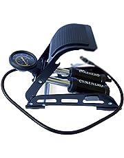 CYCLEHERO Voetpomp met dubbele cilinder, voor alle ventielen, krachtige luchtpomp met manometer tot 10 bar, voor veelzijdig gebruik, hoogwaardige trapppomp