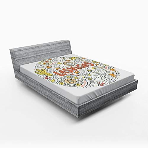 ABAKUHAUS Las Vegas Sábana Elastizada, Edificios diseño Sencillo, Suave Tela Decorativa Estampada Elástico en el Borde, 135 x 190 cm, Multicolor