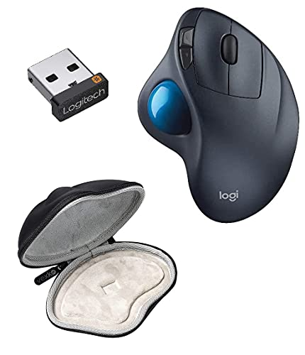 Bundle Logitech M570 Wireless Trackball Mouse (Dark Gray) with USB Unifying Receiver + Vexko Hard Protective Case Travel Carrying Storage Bag (Black) Compatible with Logitech M570/M575 Computer Mouse