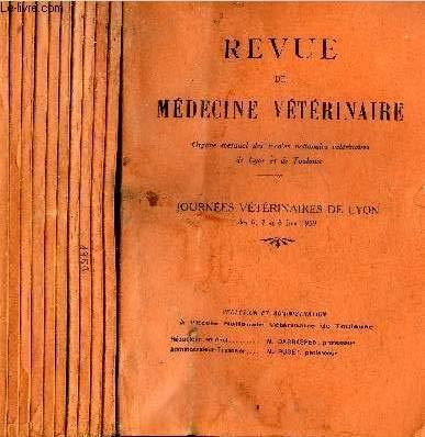REVUE DE MEDECINE VETERINAIRE - 11 NUMEROS 11 VOLUMES - JANVIER + FEVRIER + MARS + AVRIL + MAI + JUIN + JUILLET + AOUT-SEPTEMBRE + OCTOBRE + NOVEMBRE + DECEMBRE 1959.