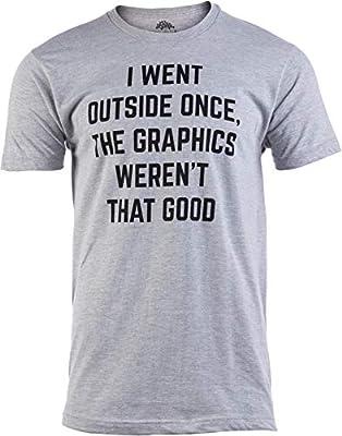 I Went Outside Once, Graphics Weren't That Good | Funny Video Gamer Joke Men Funnt T-Shirt-(Adult,M) Sport Grey