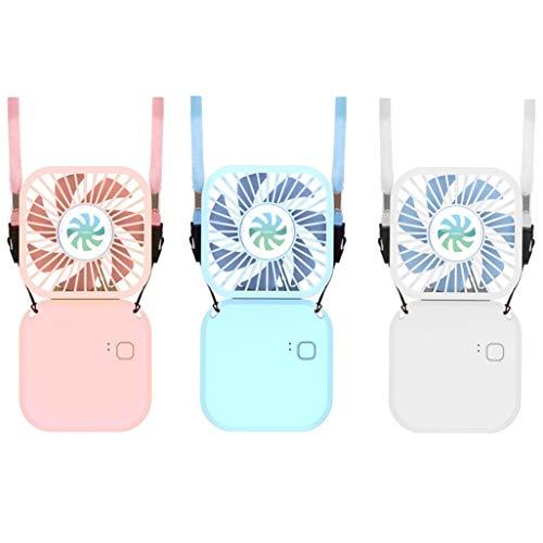 首掛けミニ扇風機 USB充電式 ミニ扇風機 静音折り畳み式 3段階調節 卓上扇風機 持ち運び コンパクト ポータブル ハンズフリー ハンディファン モバイルバッテリー (ブルー)